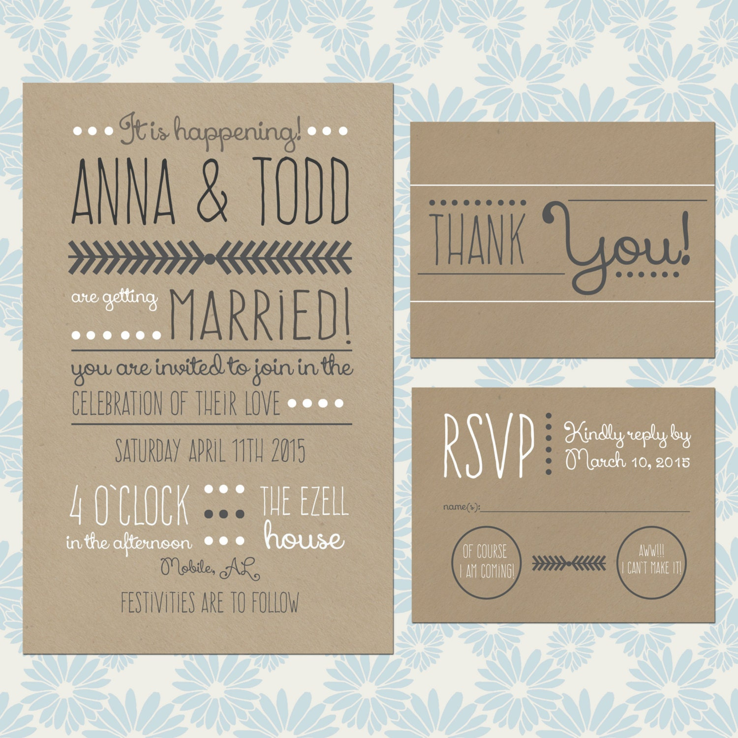 For Without Words Paper Wedding Invitations: Chic Craft Paper Wedding Invitation Set