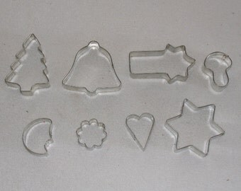 Vintage Bakeware Cookie Cutters Cookie Cutters Cookie shapes Set 8 pcs