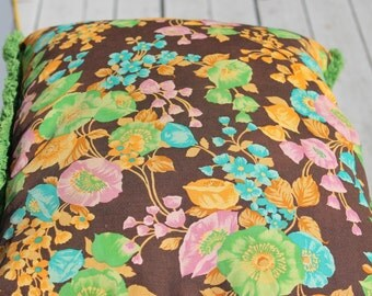 Vintage 60s Floral Cotton Fringed Pillow