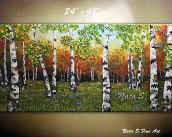 "Landscape Original Painting.Abstract Large Artwork.Palette Knife.Impasto.Birch Forest,Trees Painting  by Nata S. 24"" x 48""  - MADE to ORDER"