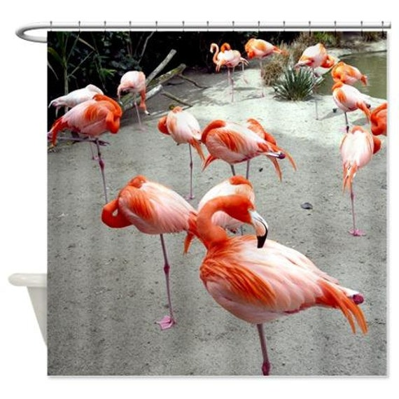 Fabric shower curtain flamingo shower bird bathroom curtain for Bird themed bathroom accessories