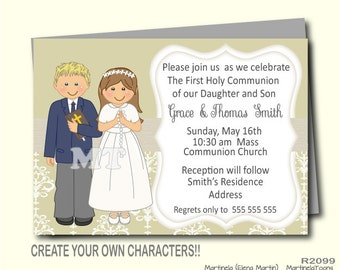 Boy and Girl First Communion Invitation For Twins- 1st Communion Invites- 1st Holy Communion Tags- Thank You Cards