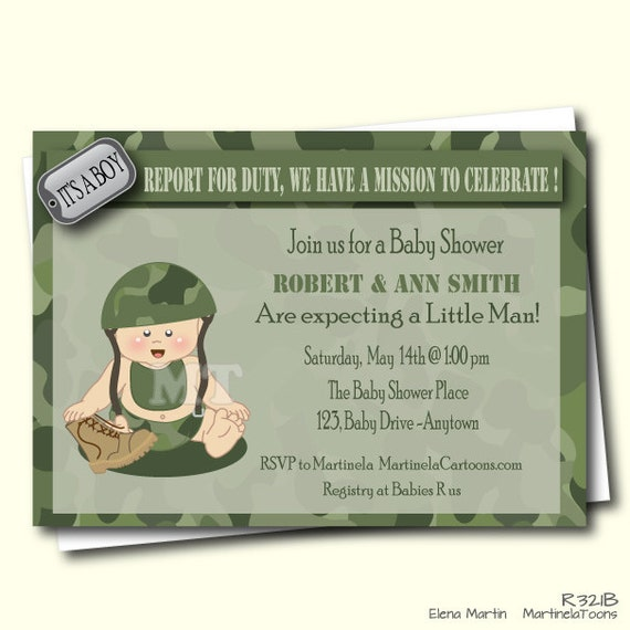 Camo baby shower invitation camouflage baby shower invite army il570xn filmwisefo