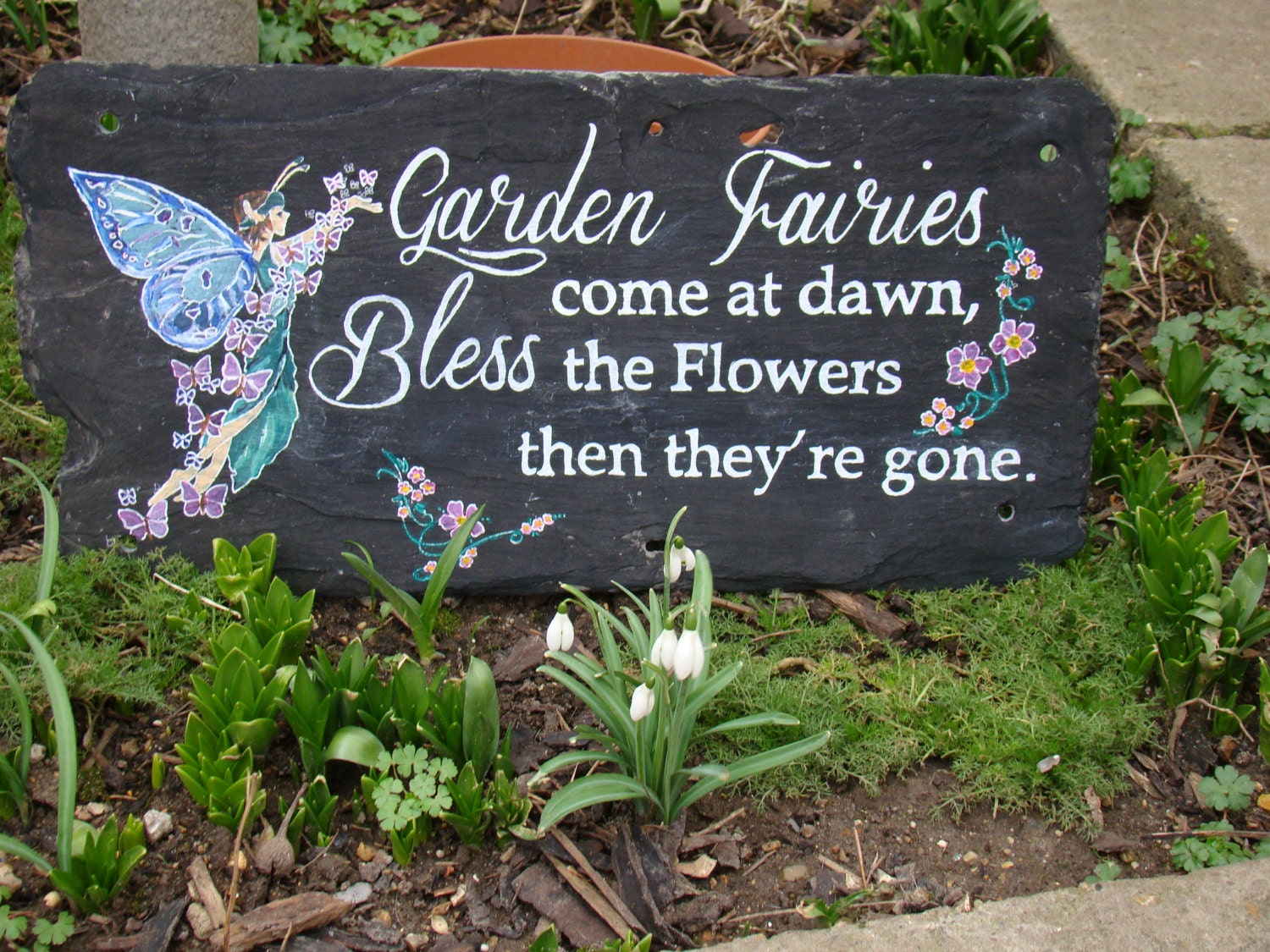 Large hand painted slate fairy garden sign by for Big hands for gardening
