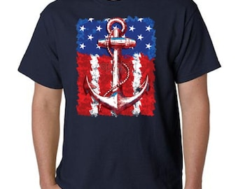 American Flag and Anchor T-Shirt All Sizes & Colors (9049)