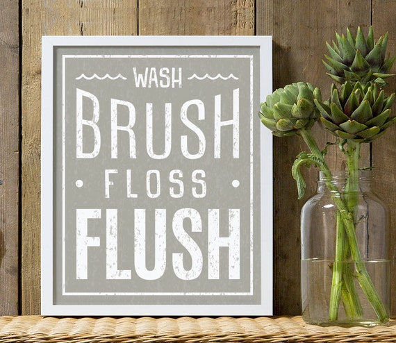 Wash, Brush, Floss, Flush, bathroom print in gray and white, bathroom print for children, gray bathroom print for boys or girls, white gray