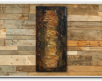 ART- Original Abstract Contemporary Textured  Small  Acrylic Painting on Canvas by Heuchlow FREE SHIPPING
