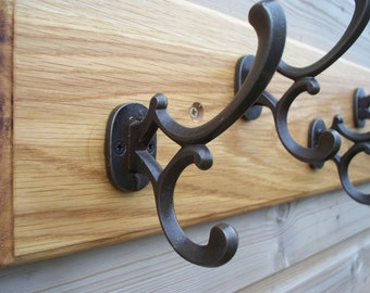 Solid Oak Coat Rack with reproduction victorian Addison style hand cast iron coat and hat hooks