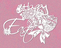 "Easter paper cut digital template, instant papercutting wall art, DIY decor, downloadable papercut 8.2"" x 9.8"""