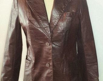 Vintage women's dark brown leather jacket- brand -Suburban Heritage 100% dark brown leather jacket