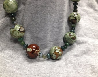 Rhyolite, Moss Agate Necklace     50% off