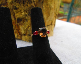 Smoky Quartz and Rubellite Tourmaline Ring [r-16] Free Shipping