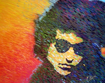 Bob Dylan with sunglasses pastel