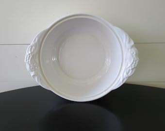 Vintage White Baking Dish - Retro Casserole Dish, White Serving Dish
