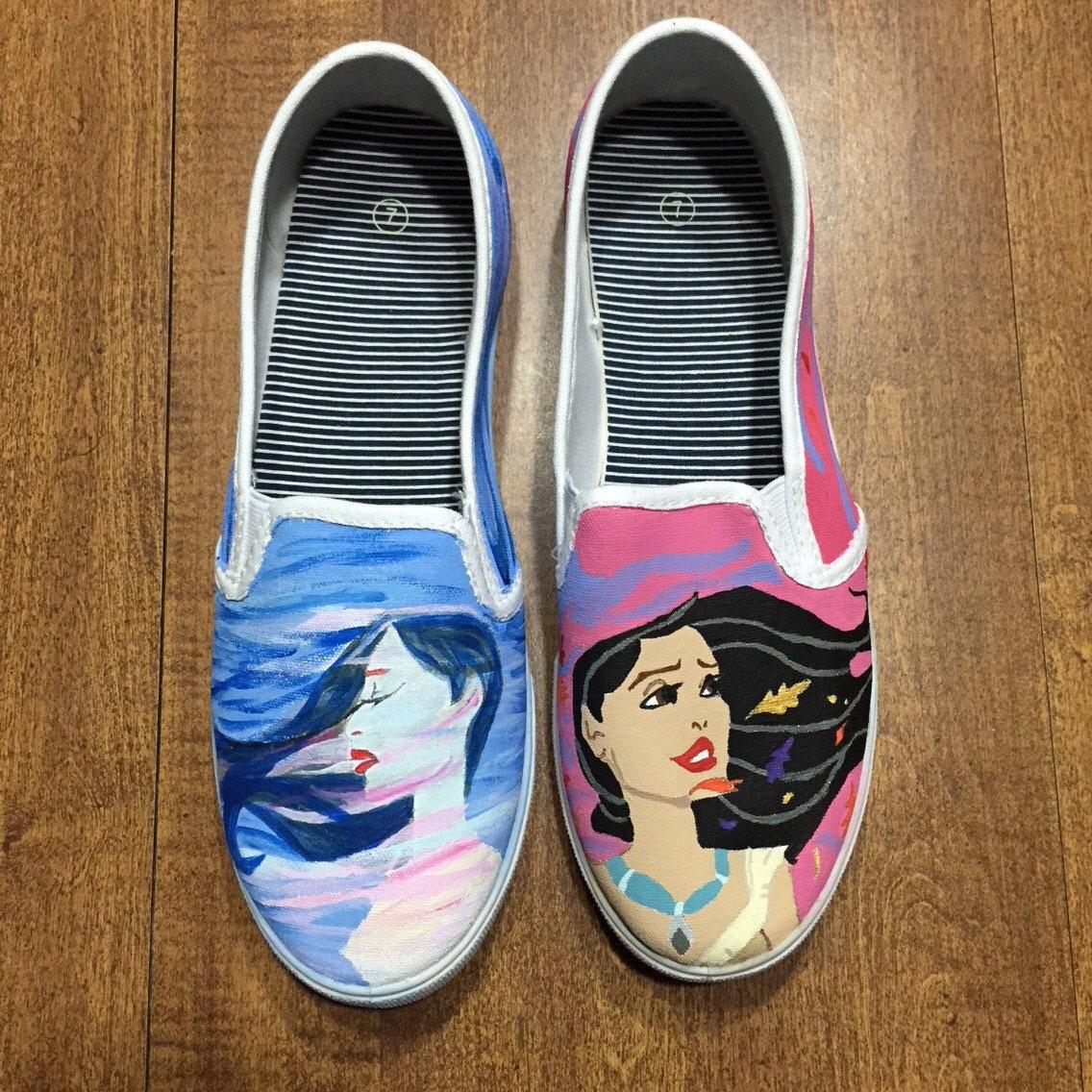 painted disney shoes vans pocahontas