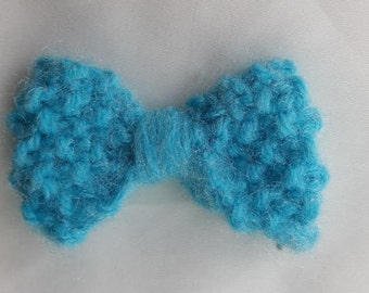 Small Hand Knit Blue Bow