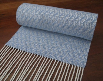 Blue and White Handwoven Scarf