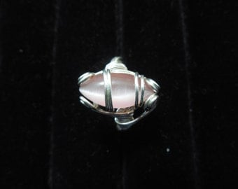 Pink Fiber Optic ring wrapped in sterling silver wire