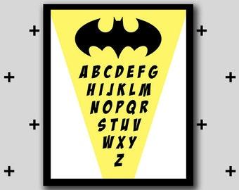 Printable batman alphabet artwork - alphabet wall art - boys room superhero - INSTANT DIGITAL DOWNLOAD