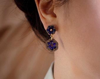 DEEP BLUE earrings / september birthstone color / dangle earrings sapphire blue earrings / birthday gift for her