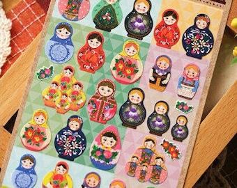 Cute Russian Doll MATROYSHKA Diary Stickers/ Deco Stickers/ 1 sheet