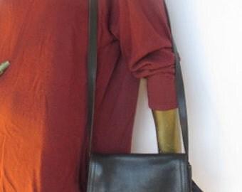 med sz vintage black leather coach purse