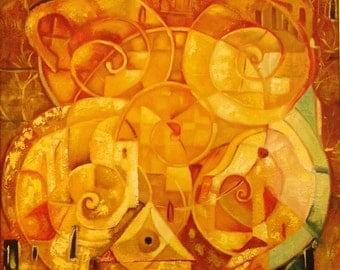 Town - Original Painting - Vili Nikolov - Oil on Canvas - 50x50 cm