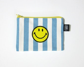 Light Blue Stripe Coin Purse, Credit Card Purse, Small Zip Pouch, Card Pouch with Embroidered Smiley Face Patch