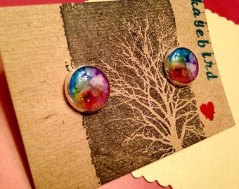 Watercolor Blend 12mm post earrings