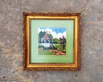 Vintage Framed Cross Stitch Gazebo