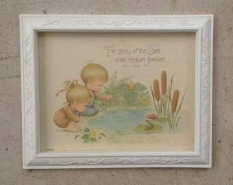 Nursery/Childs Room Framed Vintage Print with Verse