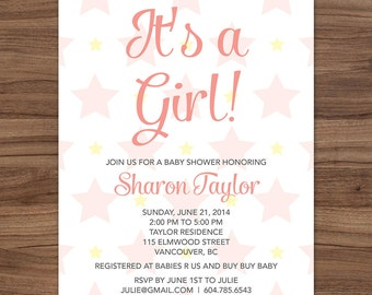 Pink It's a Girl Baby Shower Invitation, Pink Girl Baby Shower Invitation, Pink Stars Baby Shower Invite