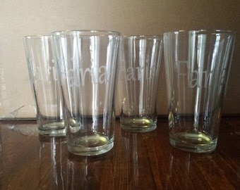 4 Personalized Etched Glass Cups with YOUR Name