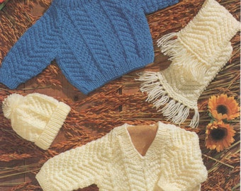 sweaters hat mittens and scarf aran knitting pattern 99p