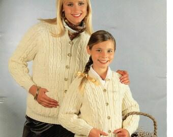 womens and childs cardigan aran knitting pattern 99p pdf