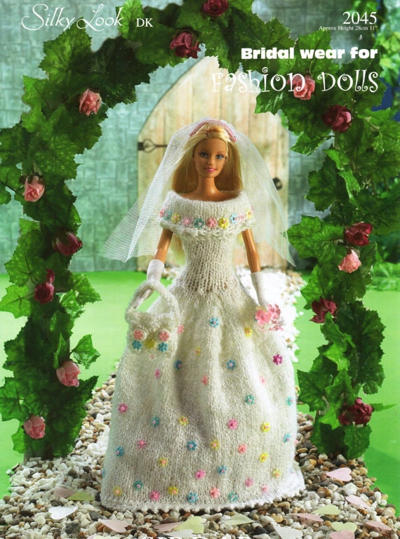 barbie sindy doll wedding dress dk knitting pattern p