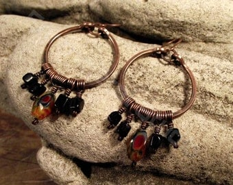 Gypsy Dangle hoop earrings  in Copper with Fused Glass and black Onyx. FREE SHIPPING.