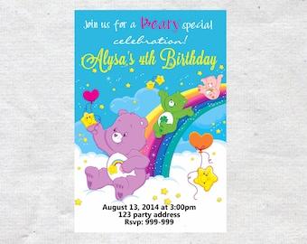 Carebears Care Bears Birthday Invitation Invite Chalkboard Chevron Pattern Care Bears Invitation
