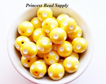 20mm Yellow Polka-Dot Chunky Beads Set of 10,   Bubble Gum Beads, Gumball Beads, Acrylic Beads