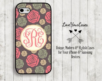 iPhone 6 Case, iPhone 6 Plus Case, iPhone 5 Case, iPhone 5c Case, Samsung Galaxy, Monogrammed Case, Personalized iPhone, Chic Roses, 999