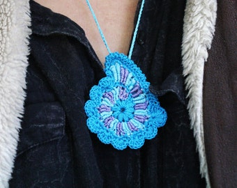 Crochet Drawstring Festival Jewelry Holder, yoga keepsake pouch, freestyle knitted pendant, aquamrine neck purse, ring keeper, neon blue bag