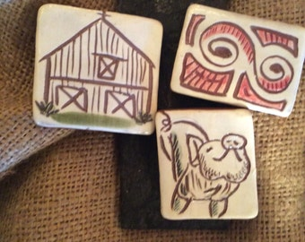 Hand Carved Clay Magnets Made in Vermont in Multiples Styles and Colors