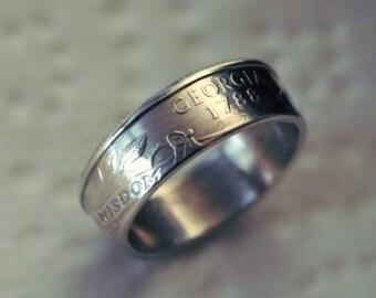 Silver Georgia State Quarter Ring, Georgia coin ring,silver Georgia ring