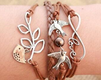 New Charm Bird Leaf Infinity Love Multilayer Leather Bracelet Silver Tone