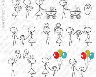 Stick Figure Clipart Clip Art, Stick People Family Clipart Clip Art Commercial & Personal Use