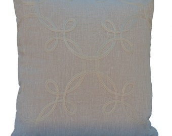 Ivory Pillow, Throw Pillow Cover, Decorative Pillow Cover, Silk embroidery, Cushion Cover, Pillowcase, Accent Pillow, Linen, Embroidery.