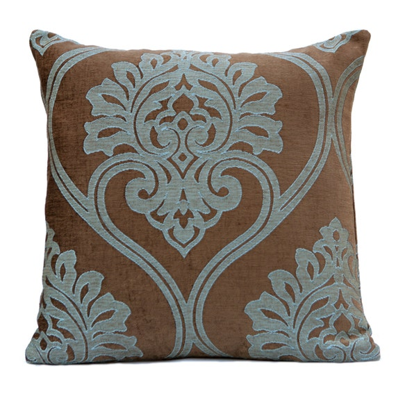 Decorative Pillow Brown : Brown and Blue Pillow Throw Pillow Cover Decorative by SHPillows