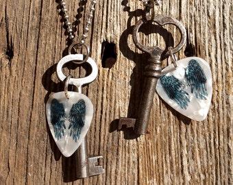Skeleton key pendant with guitar pick