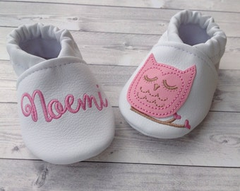 Owl faux leather baby shoes personalized with name - Girl 3-6 months
