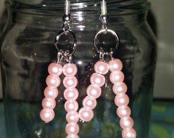 Pearlescent light pink dangle earrings, pink earrings, light pink earrings, dangle earrings